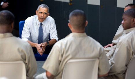 President Obama meets with prisoners at El Reno Federal Correctional Institution.