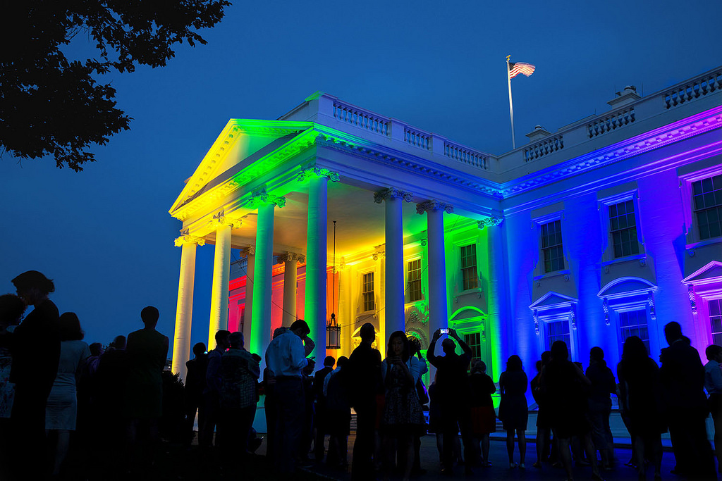 The White House is lit with the colors of the rainbow in celebration of the Supreme Court's decision on marriage equality, June 26, 2015