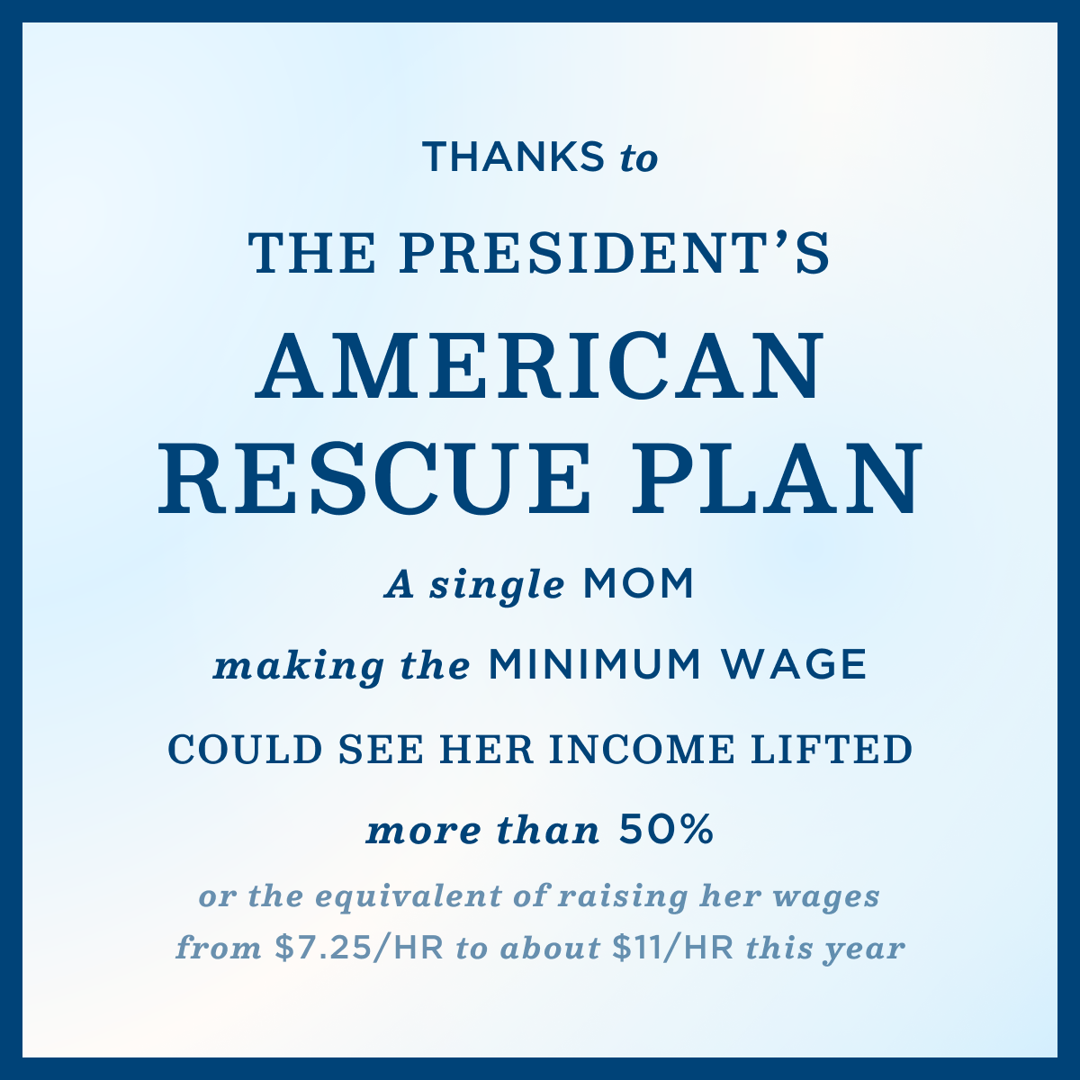 """A light blue image that reads """"Thanks to the President's American Rescue Plan... A single mom making the minimum wage could see her income lifted by more than 50% or the equivalent of raising her wages from $7.25/hr to about $11/hr this year"""""""