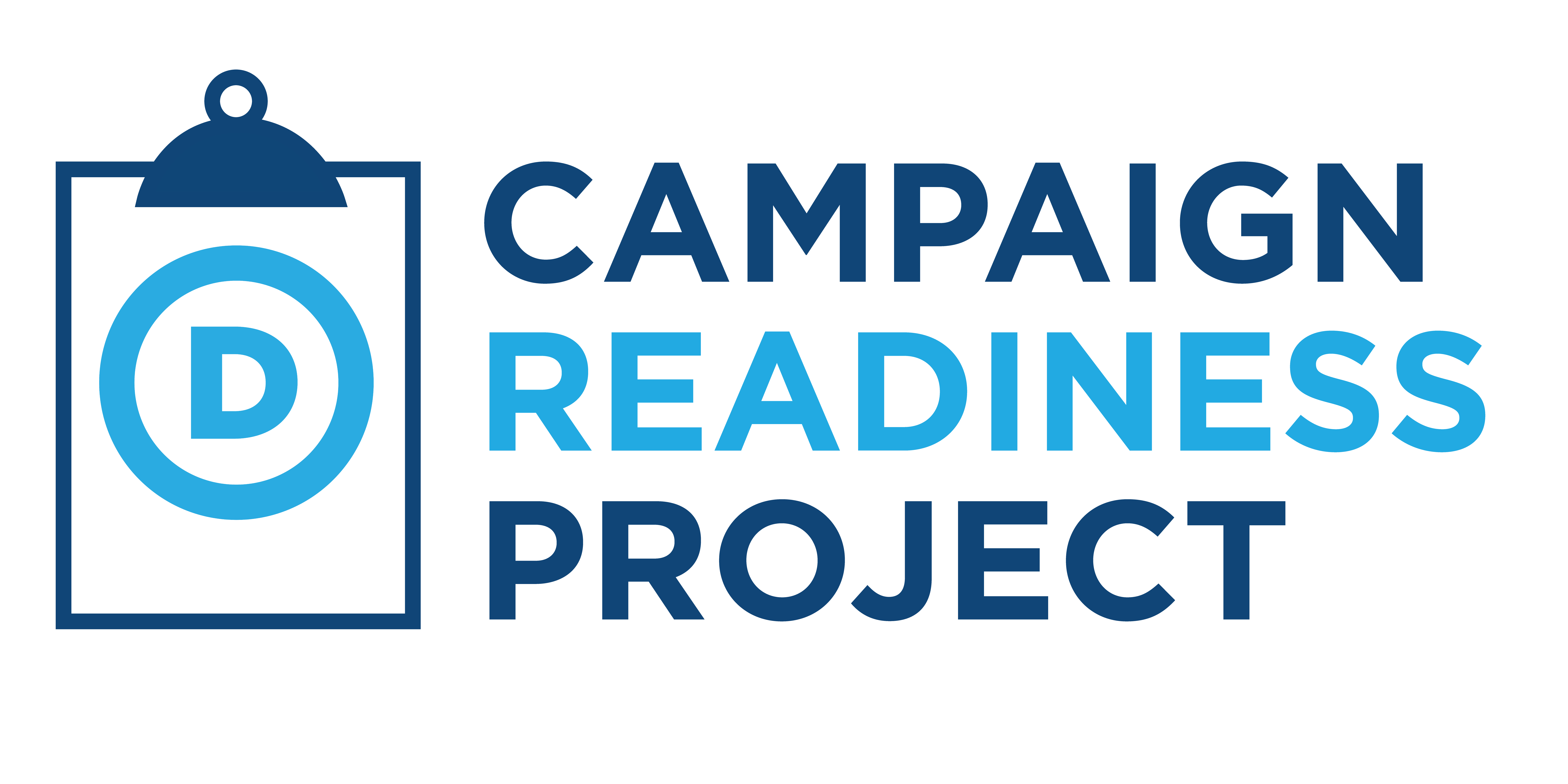 Campaign Readiness Project logo with a clipboard and blue circle D DNC logo